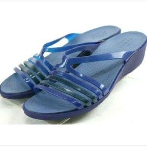 Crocs Women's Wedge Sandals Size 9 Rubber Blue